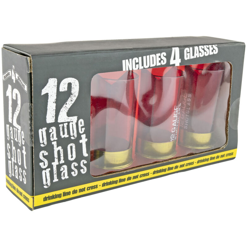 Twelve Gauge Shotgun Shells Shot Glasses Set of 4 Bullet Party Hunting Gift NEW