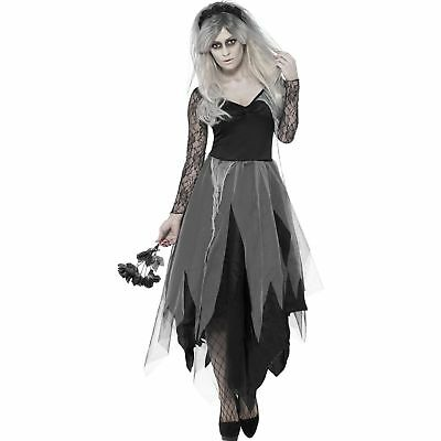 Ladies Zombie Bride Halloween Costume (Graveyard Bride Zombie Halloween Horror Womens Ladies Fancy Dress)