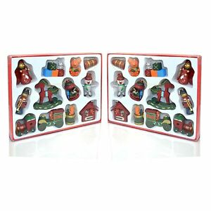 12PCS TRADITIONAL WOODEN CHRISTMAS TREE DECORATIONS
