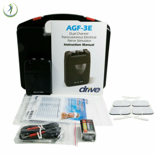 AGF-3E TENS ECONOMY 2 CHANNEL BATTERY UNIT LEAD WIRES ELECTRODE OTC PAIN RELIEF