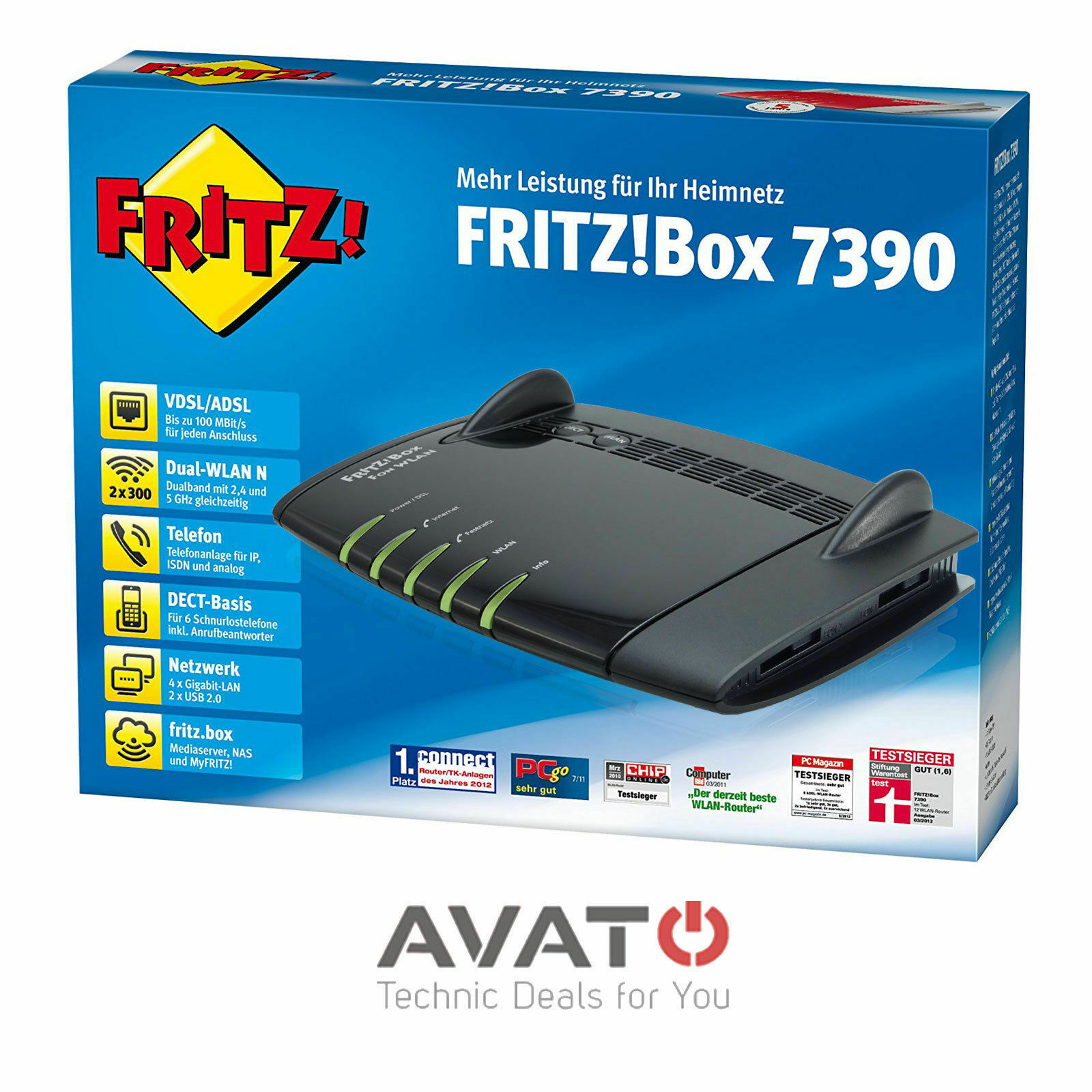 AVM FRITZBox 7390 INTERNATIONAL VDSL DSL Modem Gigabit #2 Jahre Gewährleistung#