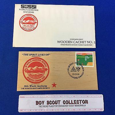 Boy Scout Cachet 1983 XV World Jamboree Alberta Canada SOSSI Wooden Cachet
