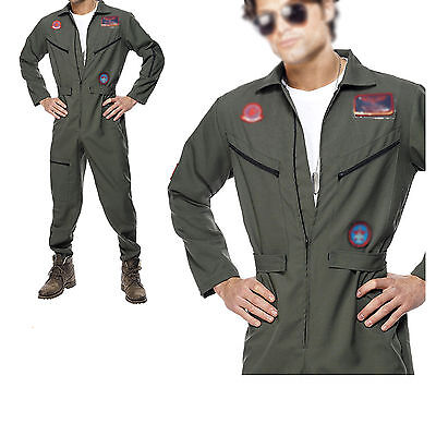 Green Army Men Costume (Christmas Men's 80's Topgun Flight Jumpsuit Pilot Aviator Army Costume)