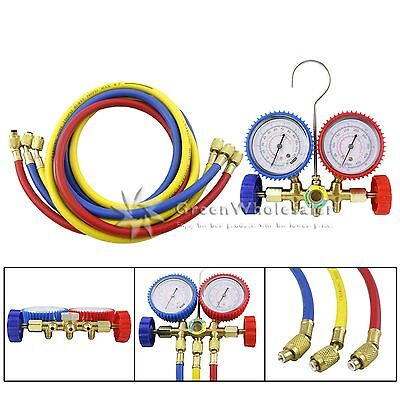 R12 R22 R502 Manifold Gauge Set Hvac Refrigeration Charging 5ft Hose Sw005