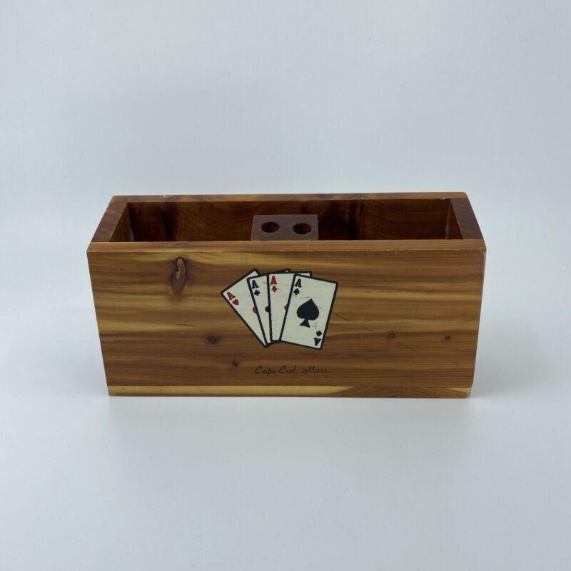 Vintage Wood Pencil Pen Holder Souvenir Cape Cod Aces Poker Wooden Ace Spades