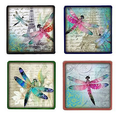 - Set of 4 Dragonfly Design Tile Coasters - Choose Your Tile Colour
