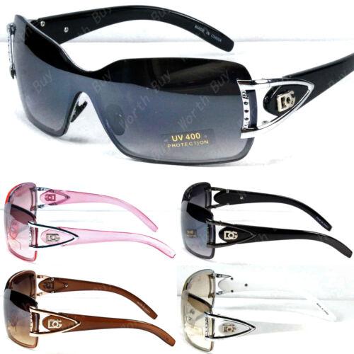 New Women Shield Wrap Around Sunglasses Fashion Designer Shades Rimless One Lens