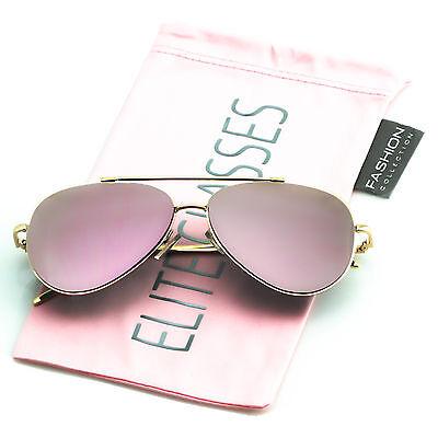 Rose Gold Women Sunglasses Aviator Mirrored Metal Oversized Glasses New (Mirror Aviator Sunglasses)