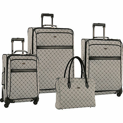 TRAVEL GEAR ORION GREY BLACK 4  PIECE EXPANDABLE SPINNER LUGGAGE SET $1120 VALUE