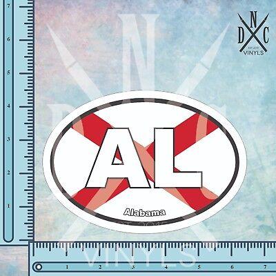 Alabama AL State Flag Oval Euro Bumper Sticker Decal - Car Truck Auto Euro Oval Alabama Oval Sticker Decal