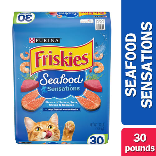 Friskies Dry Cat Food, Seafood Sensations, 30 lb. Bag