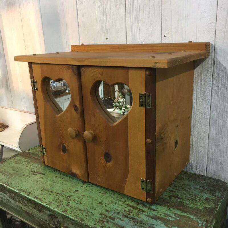 Small Vintage Cabinet W/ Heart Shaped Mirrors Kitchen Cute Primitive Style