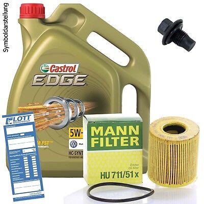 Ölwechsel Set 5L 5W-30 Öl Motoröl CASTROL + MANN Ölfilter + Ablassschraube 824 Kit