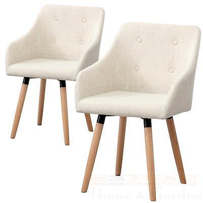 Designer Esszimmerstuhl Küchenstühle Essstühle Stuhl Ilmar Stoffbezug beige 2er - Stuhl Designer Stoff