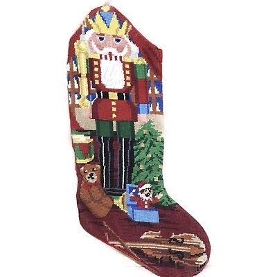 VINTAGE NEEDLEPOINT NUTCRACKER TOY SOLDIERS & GIFTS CHRISTMAS STOCKING FINISHED (Toy Soldiers Christmas)