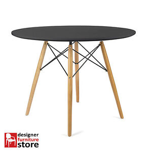 charles eames round dining table beech wood legs 100cm black table top