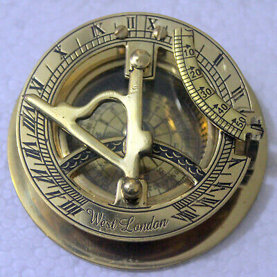 """3/"""" Antique Flat Brass Sundial Compass With Handmade Stitch Leather Case Gift"""