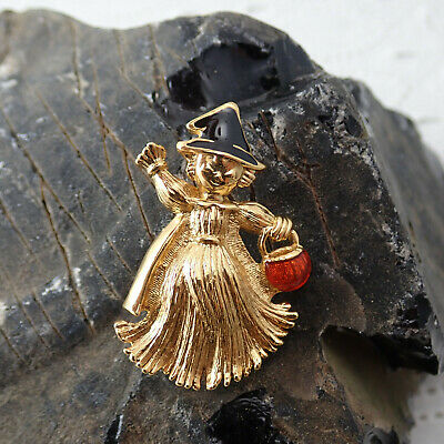 Vintage Avon Gold Tone Halloween Trick Or Treat Girl in Witch Hat Pin Brooch