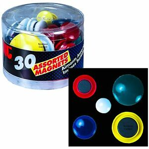 Round Magnets, Assorted Sizes & Colors, Tub of 30