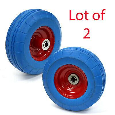 2 Pc Flat Free 8-12 Tire W 58 Bearing Hand Truck Dolly Wheel Wheelbarrow