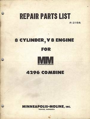 Minneapolis-moline 8 Cyl.v8 Engine For M-m 4296 Combine Repair Parts List Manual
