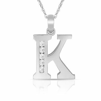 "14K Solid White Gold Block Initial ""K"" Letter Charm Pendant & Necklace"