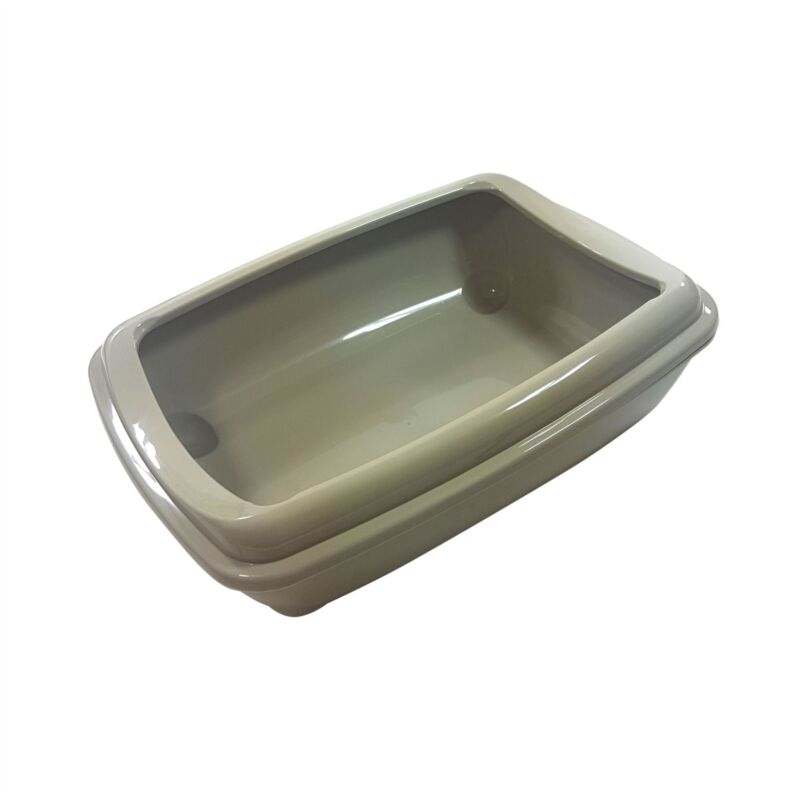 OFFICIAL+LICENSED+CAT+PET+LITTER+TRAY+TOILET+ACRYLIC+TAUPE+GREY+43+X+30+X+11CM