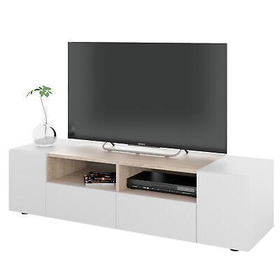 Mueble multimedia para TV en color blanco artik y roble canadian 138...