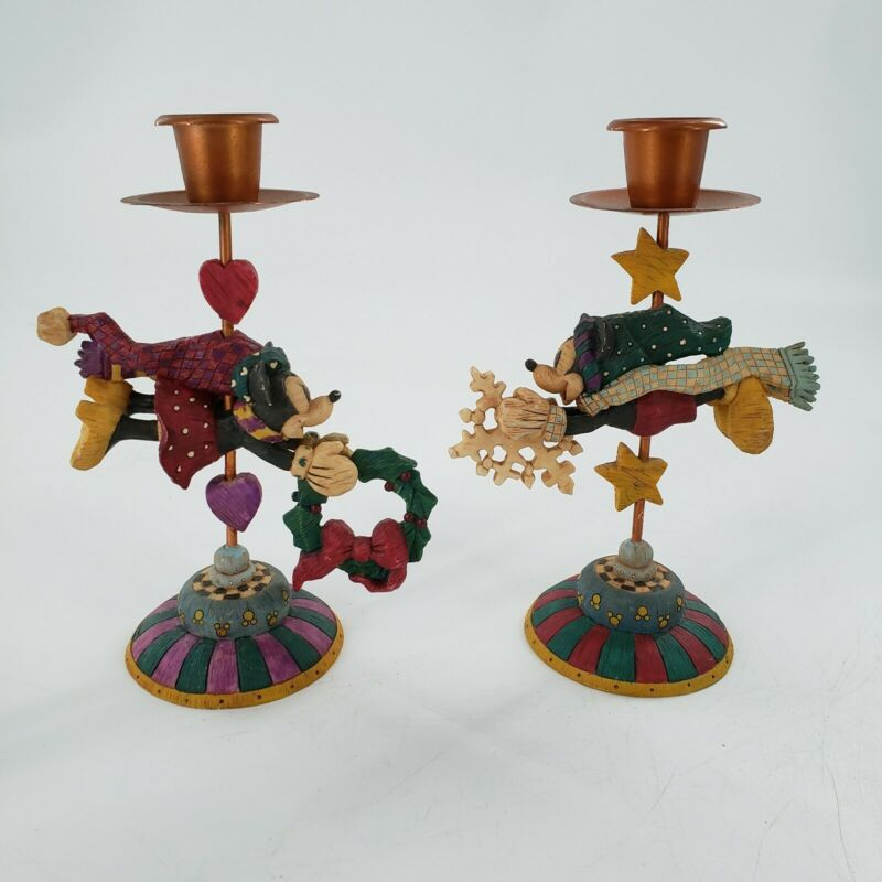Disney Mickey & Minnie Mouse Christmas Candle Holders 7 Inch Figures Set Of 2
