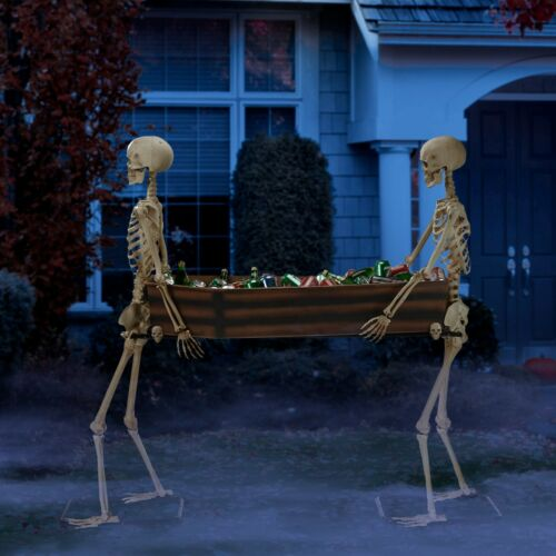 IN STOCK - Life Size SKELETONS CARRYING COFFIN Halloween Prop HAUNTED Decor