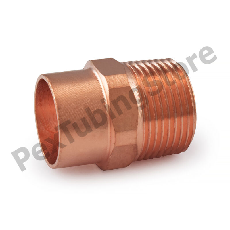 "(50) 3/4"" C x 3/4"" Male NPT Threaded Copper Adapters"