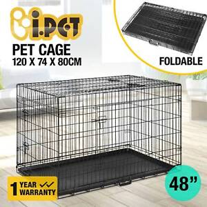 48 Dog Cage Pet Crate Puppy Cat Foldable Metal Kennel Portable