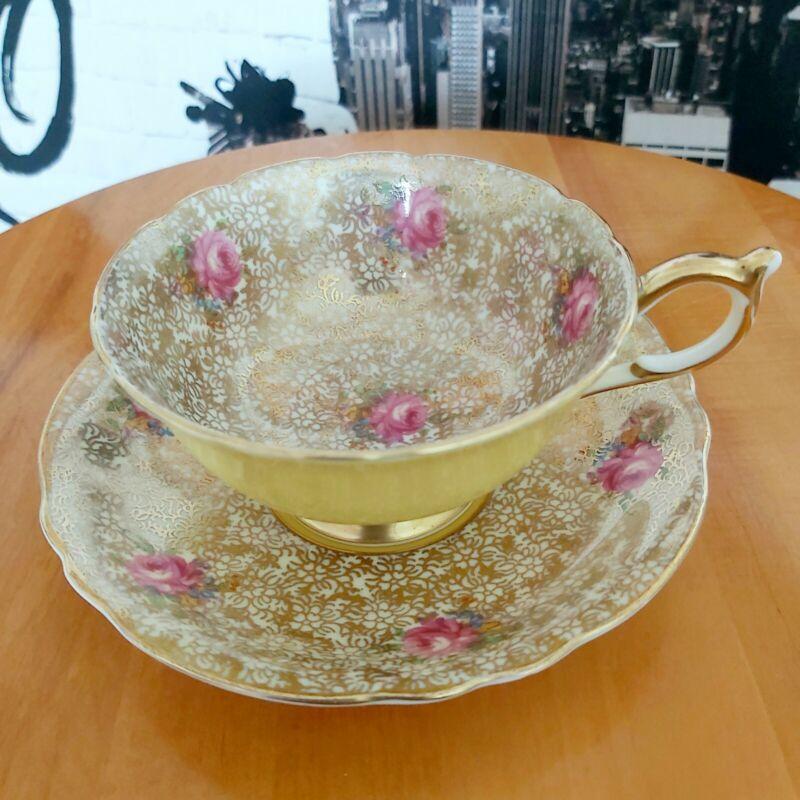 VTG PARAGON China Tea Cup & Saucer Yellow w/ Pink Rose & Gold Patterns