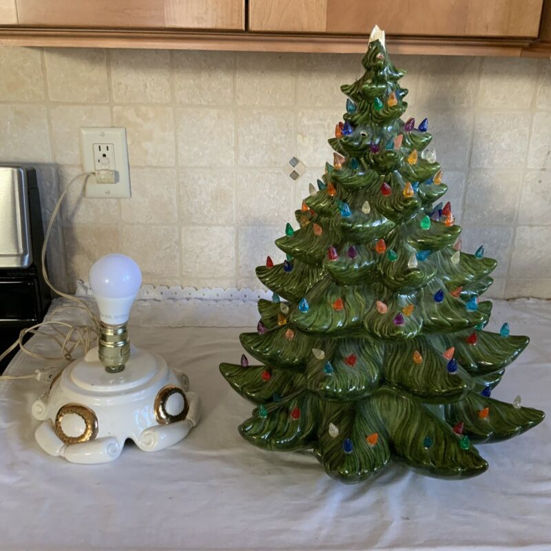 "22"" Ceramic Christmas Tree With Musical Base - Damaged"