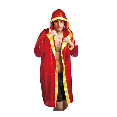 Adult Men's Boxing Robe Costume Red & Gold Champion Costume Rocky MMA