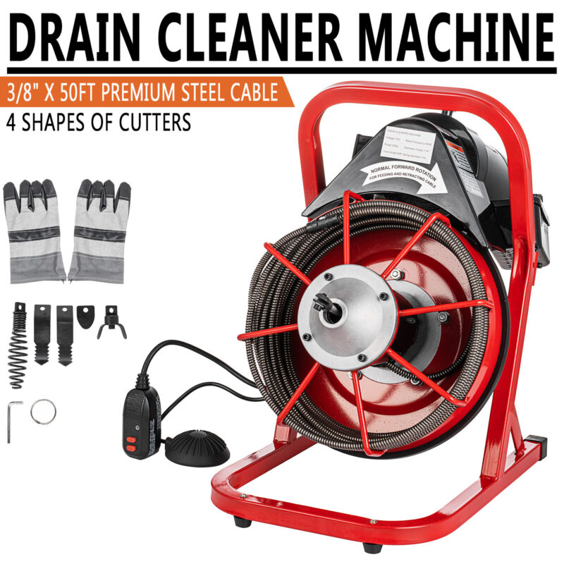 """Commercial 50FT Electric Drain Auger Snaker Cleaner Plumbing 3/8"""" Cable Cut"""