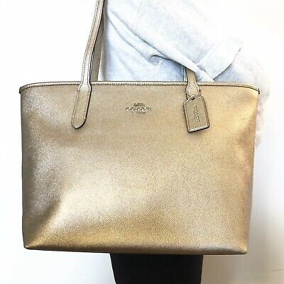 NWT COACH F88067 Metallic Crossgrain Leather Zip Tote Handbag Platunum Gold