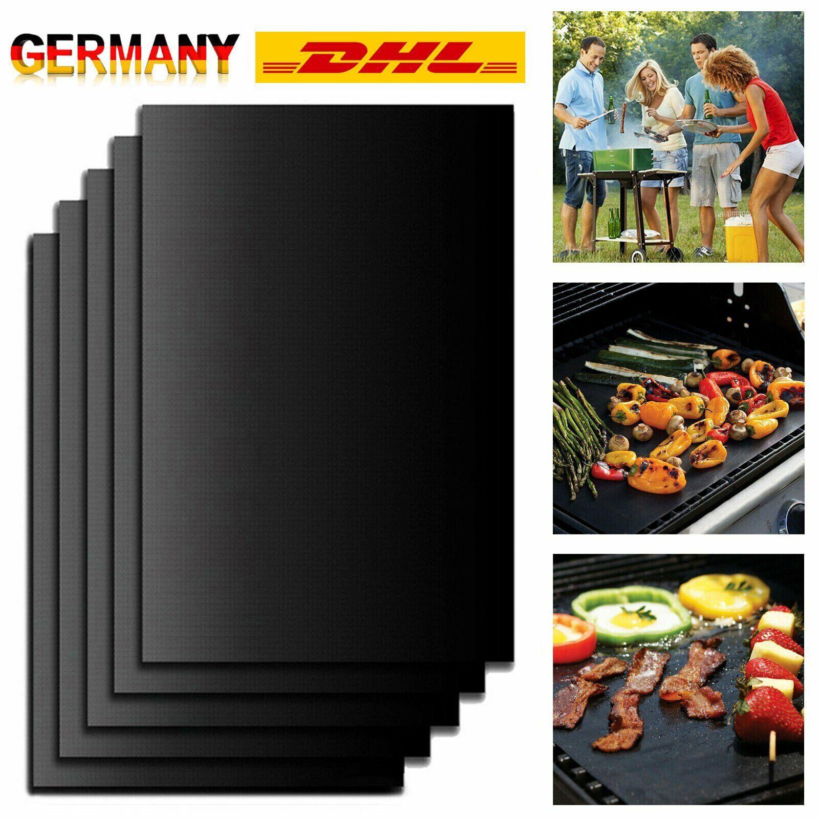 5er Grillmatte Dauer antihaft BBQ Grillmatten Bratfolie Backmatte Grillschale DE