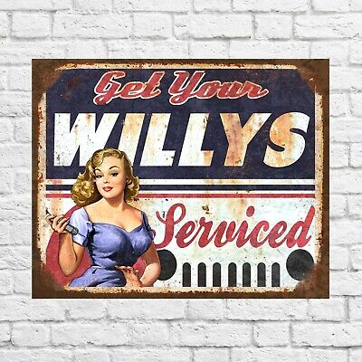 Get your Willys serviced sign, Garage serviced sign, Garage decor, Garage signs