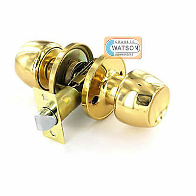Polished Brass PASSAGE KNOB SET Door Handle Latch Fixings ()