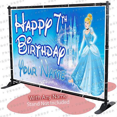Cinderella Princess Birthday Banner Personalized Party Backdrop Decorations -KID (Cinderella Backdrop)