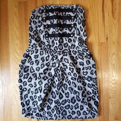 Toska Gray Cheetah Print Strapless Tube Dress Size Small (with pockets!)