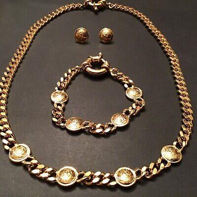 Authentic Gianni Versace iconic Medusa Head & Greca Medallion Gold Tone Necklace