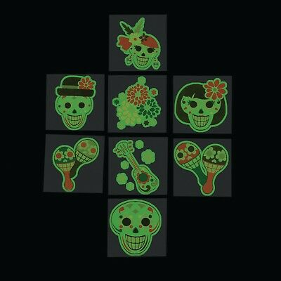 72 Halloween sugar skull DAY OF THE DEAD GLOW IN THE DARK tattoos Party Favor](Halloween Favor)