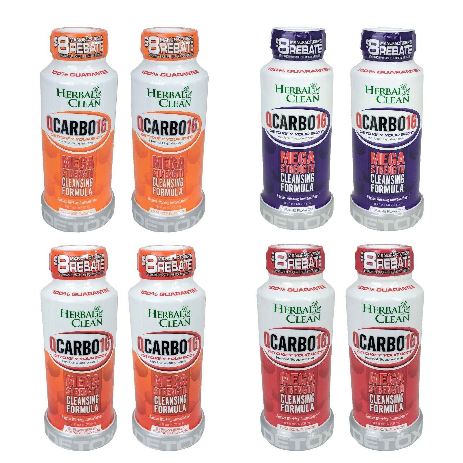 2-Pack Herbal Clean Qcarbo16 Mega Strength Cleansing Detox, 16oz, YOU CHOOSE