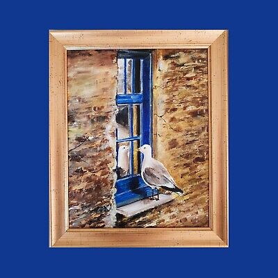 Modern Art*Acrylic Painting Canvas Board* Wall Hanging*HANDMADE*Home GOld Blue