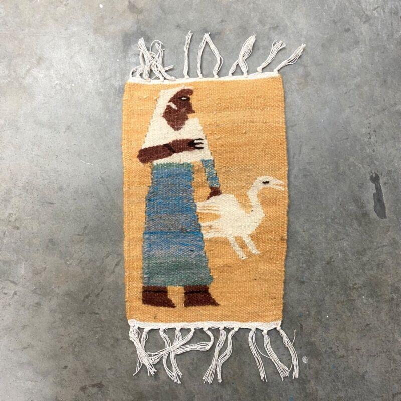 "RARE VTG Handmade Navajo Hand Woven Mini Rug Place Mat Portrait Swan 8""x12"" Inch"