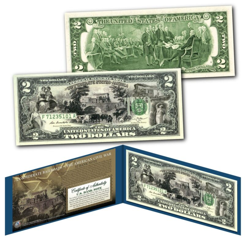 CONFEDERATE RAILROADS Banknote of The American Civil War on Genuine New $2 Bill