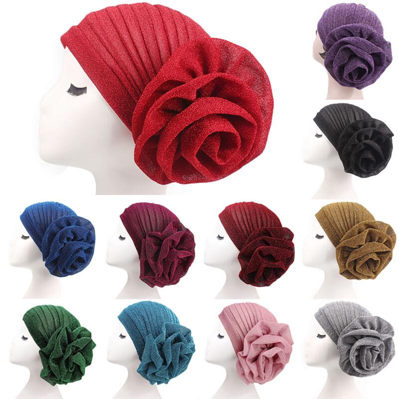 Women Indian Headbands Floral Glitter Turban Hats Ladies Hea