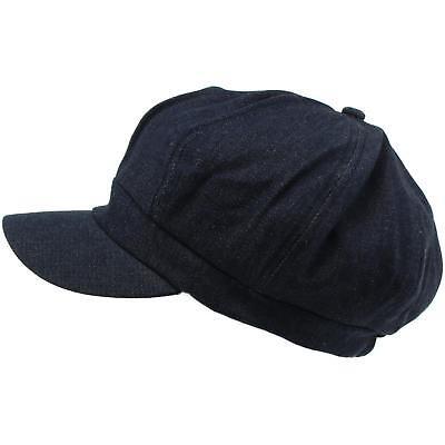 Apple Cotton Cap (100% Cotton Plain Blank 6 Panel Newsboy Gatsby Apple Cabbie Cap Hat Dark Denim)
